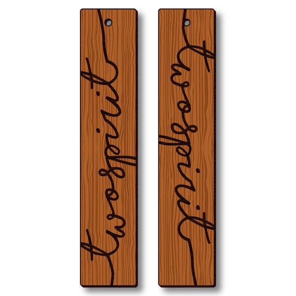 David Bernie Shop Laser Cut Cherry Wood Earrings Two Spirit