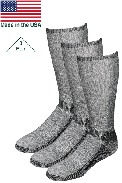 Merino wool hiking hunting boot sock Made in the USA. High quality cushioned sock