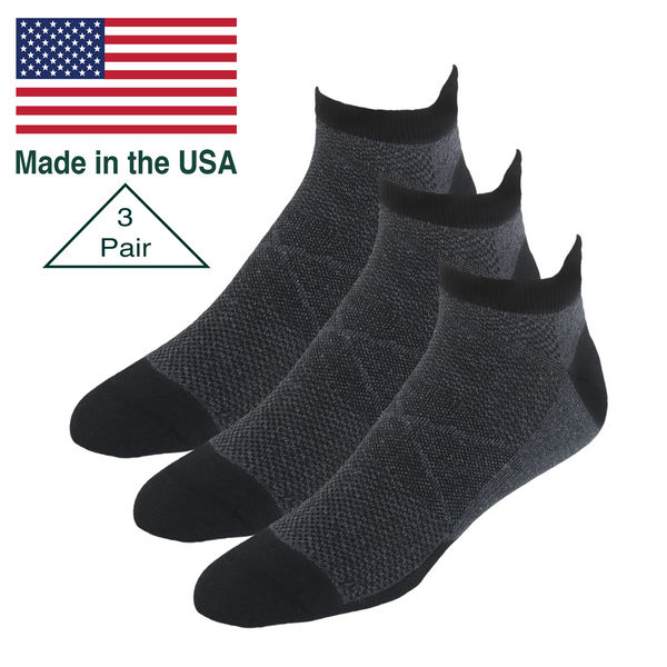 Edge Performance Ankle Tab Socks, 3 Pair Bundle.  Made in the USA