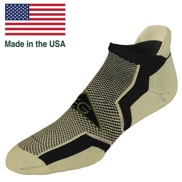 No show ankle sock cushioned tab blister free running sock Make in the USA
