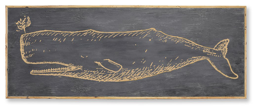Carved Wooden Whale Framed Wall Art