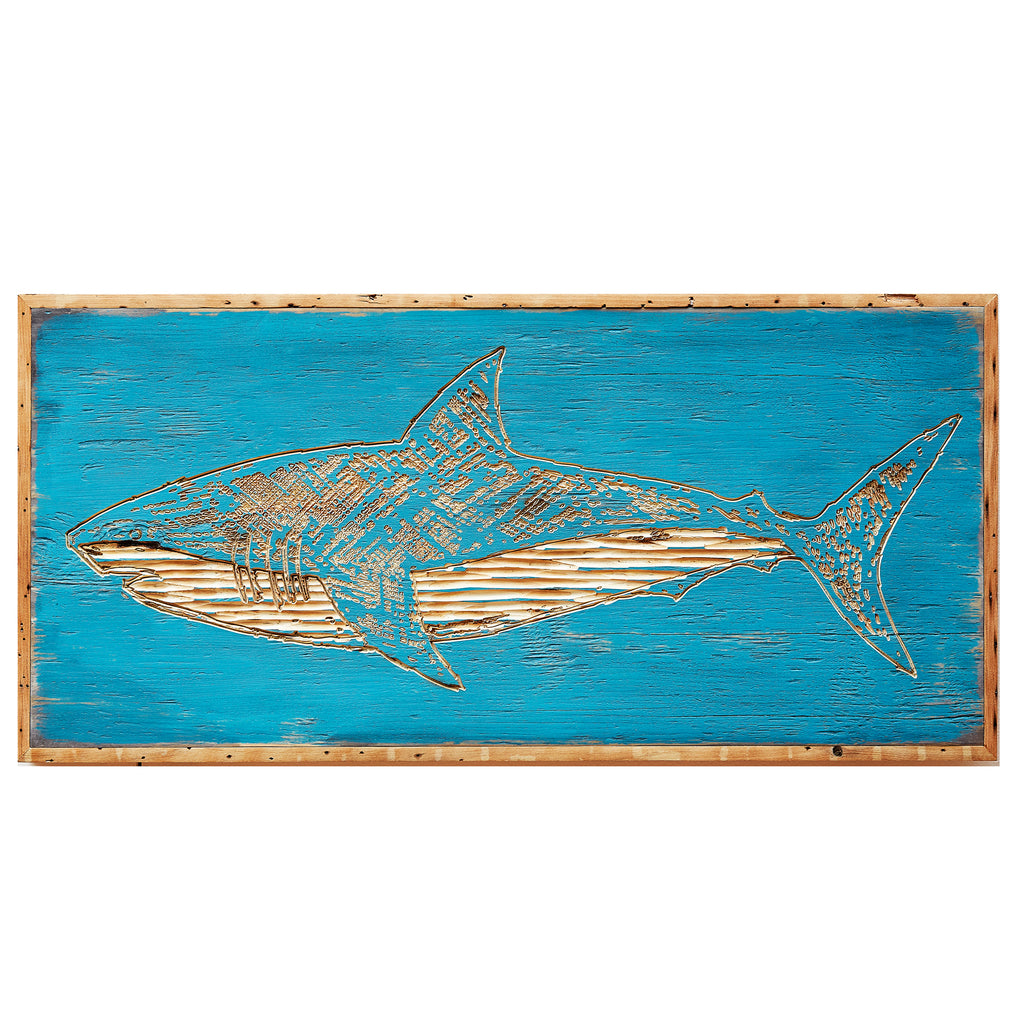 Carved Great White Shark Framed Wall Art - Haven America