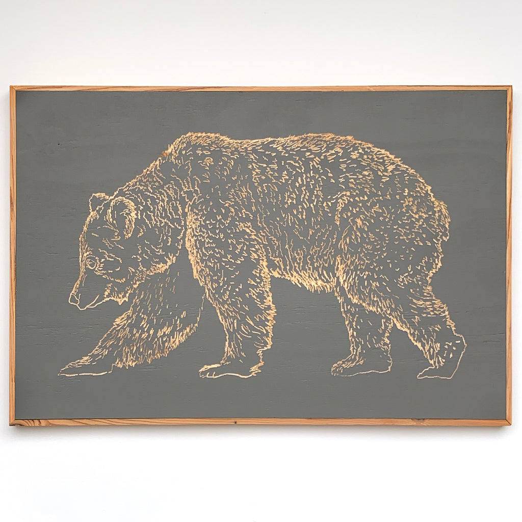 Carved Wooden Bear Framed Wall Art - Haven America