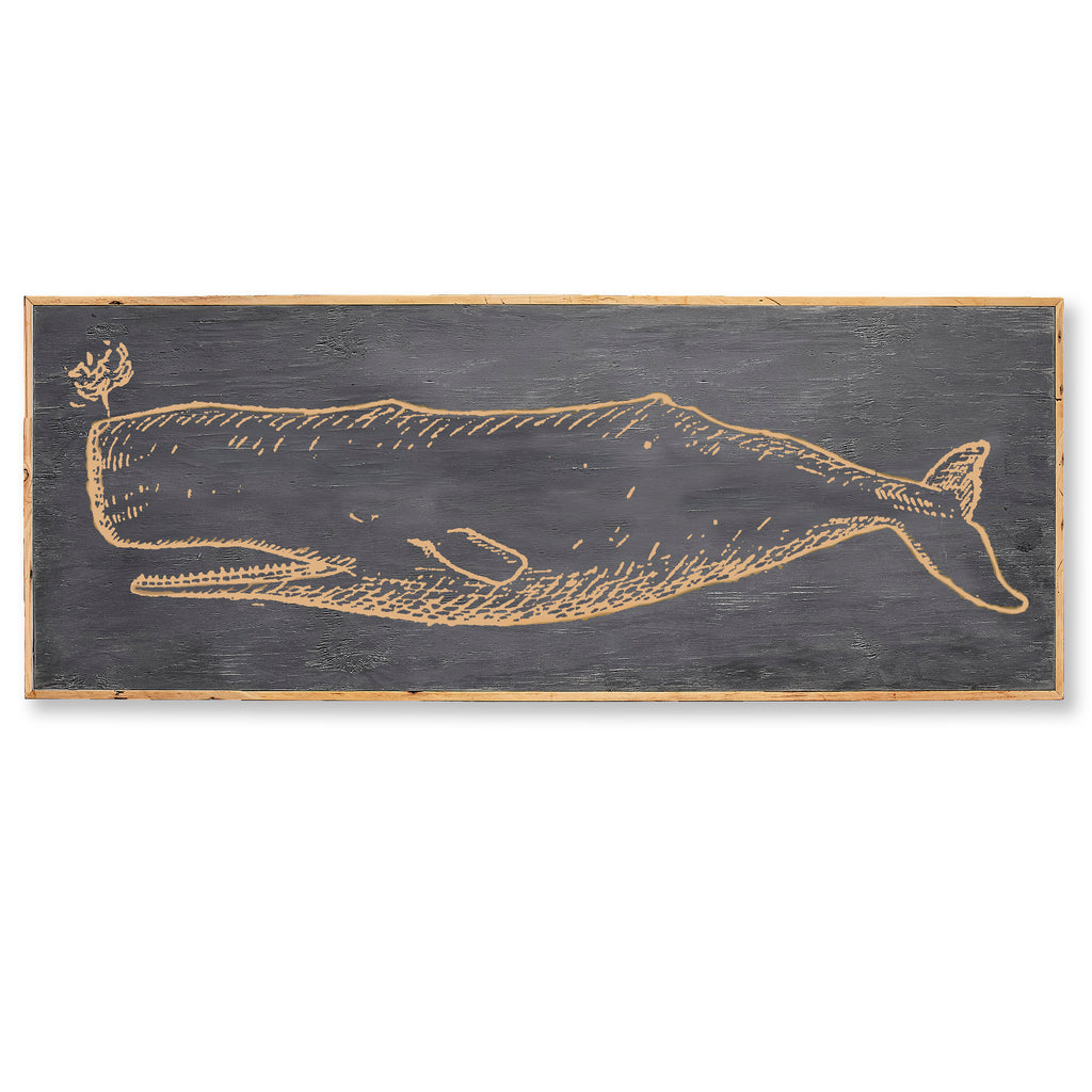 Carved Wooden Whale Framed Wall Art - Haven America