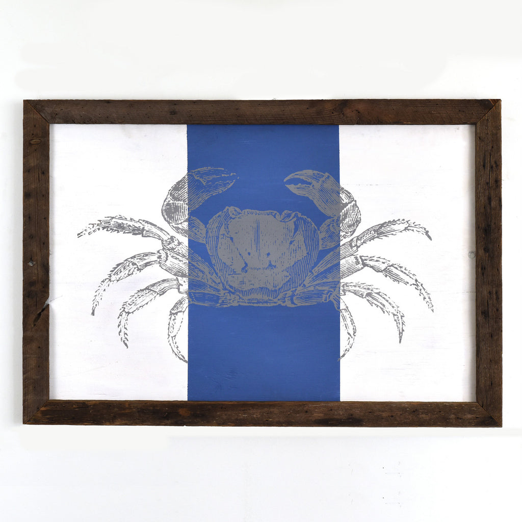 Crab on Stripe Rustic Framed Wall Art - Haven America