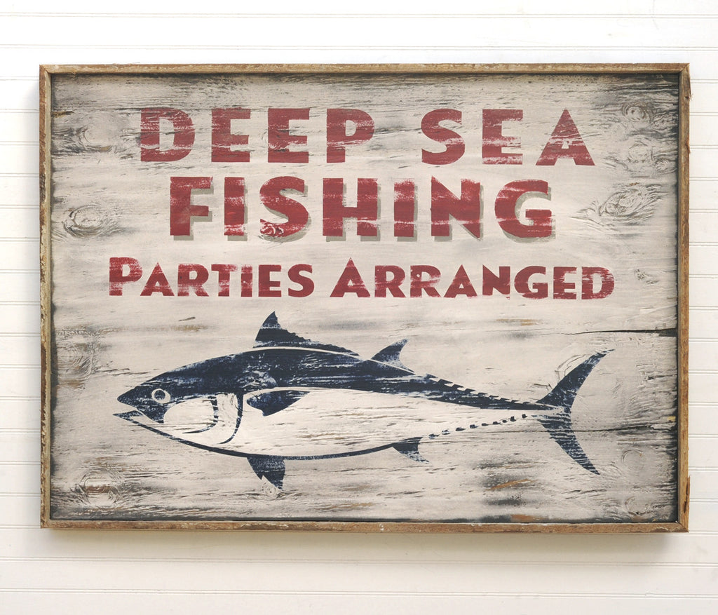 Deep Sea Fishing Parties Sign - Haven America