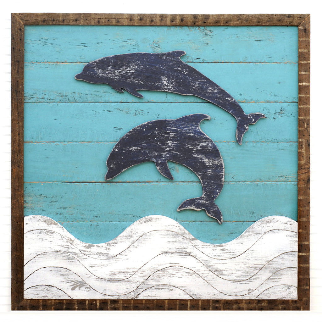 Dolphins and Waves Framed Wall Art - Haven America