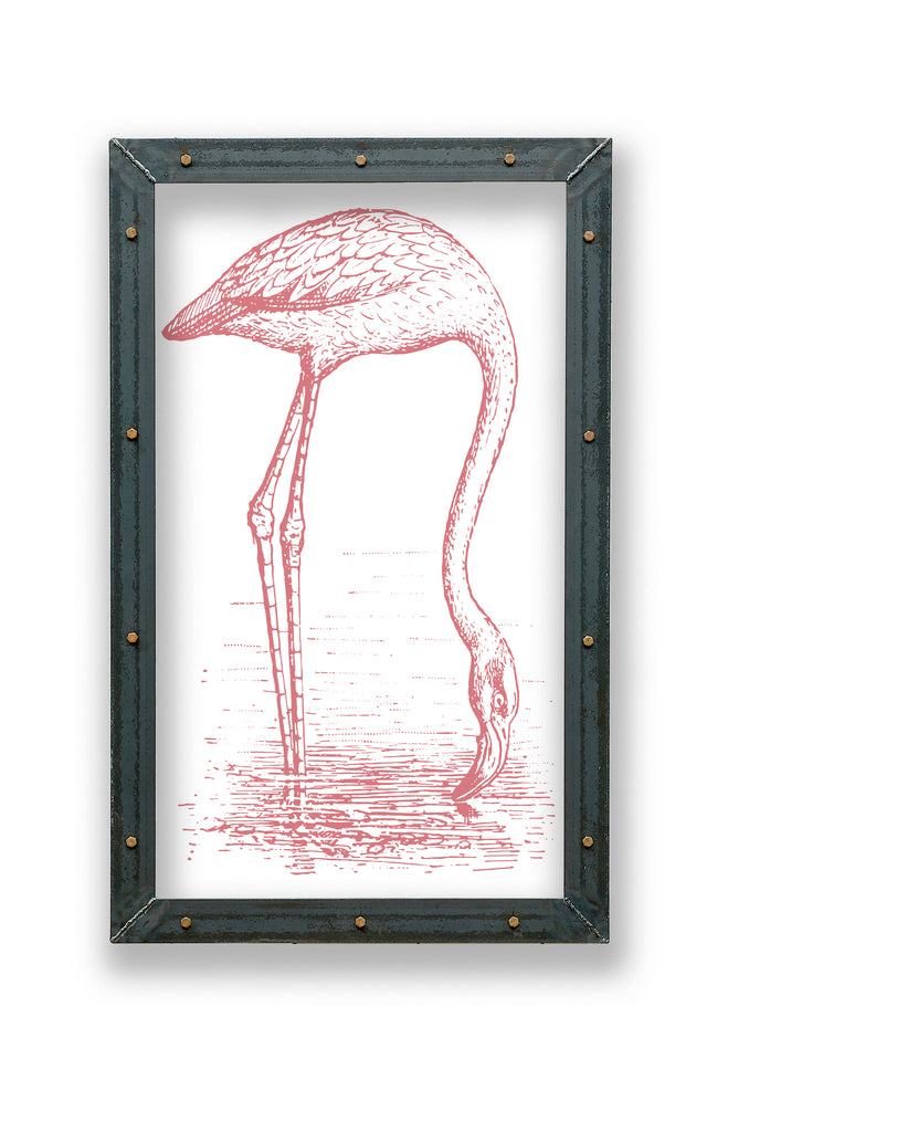 Flamingo Bird Print in Metal Frame