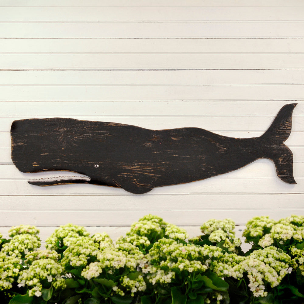 Folk Whale Wooden Wall Art - Haven America
