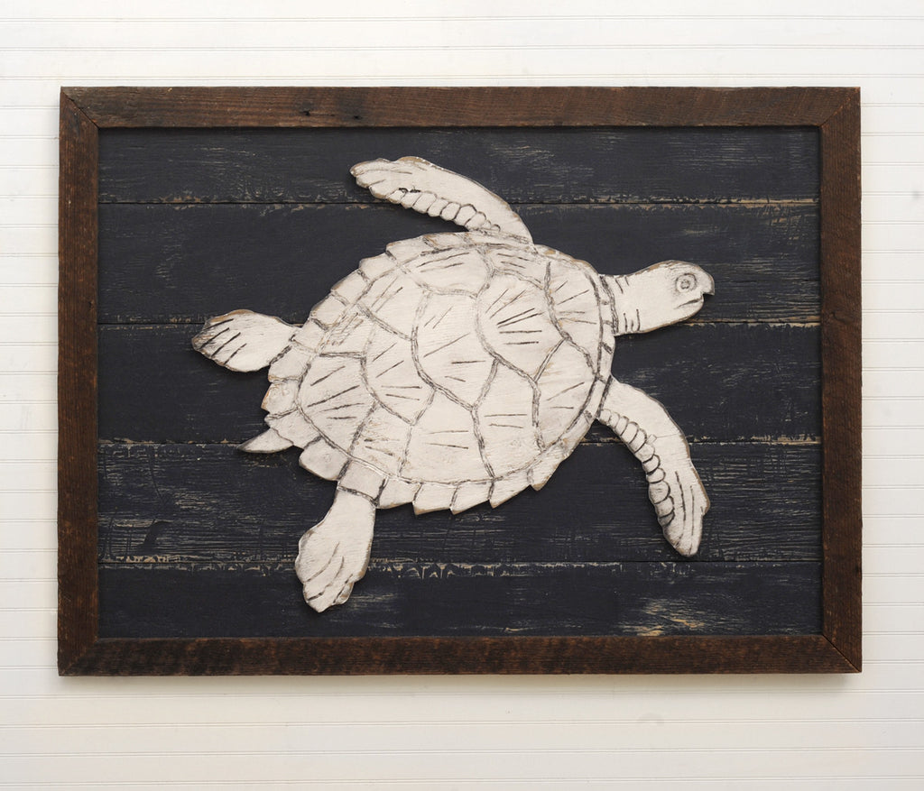 Wooden Sea Turtle Framed - Haven America