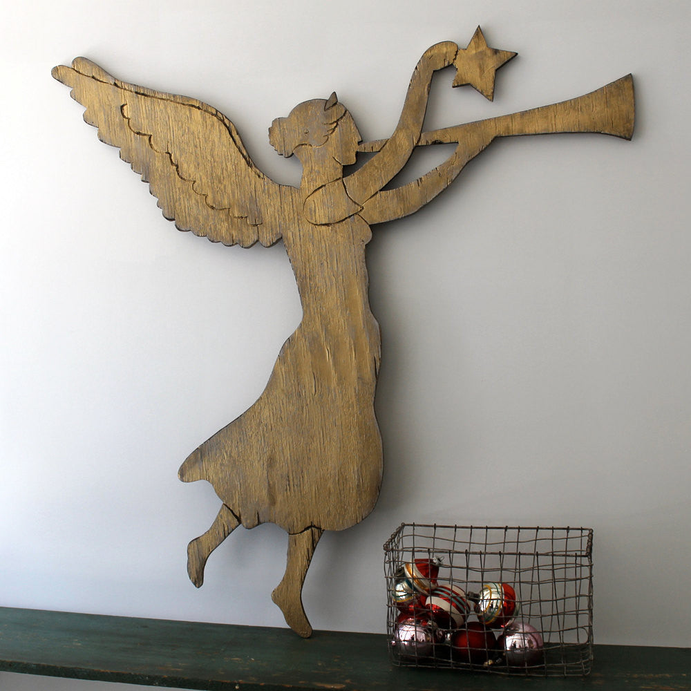 Golden Angel Wooden Wall Art - Haven America