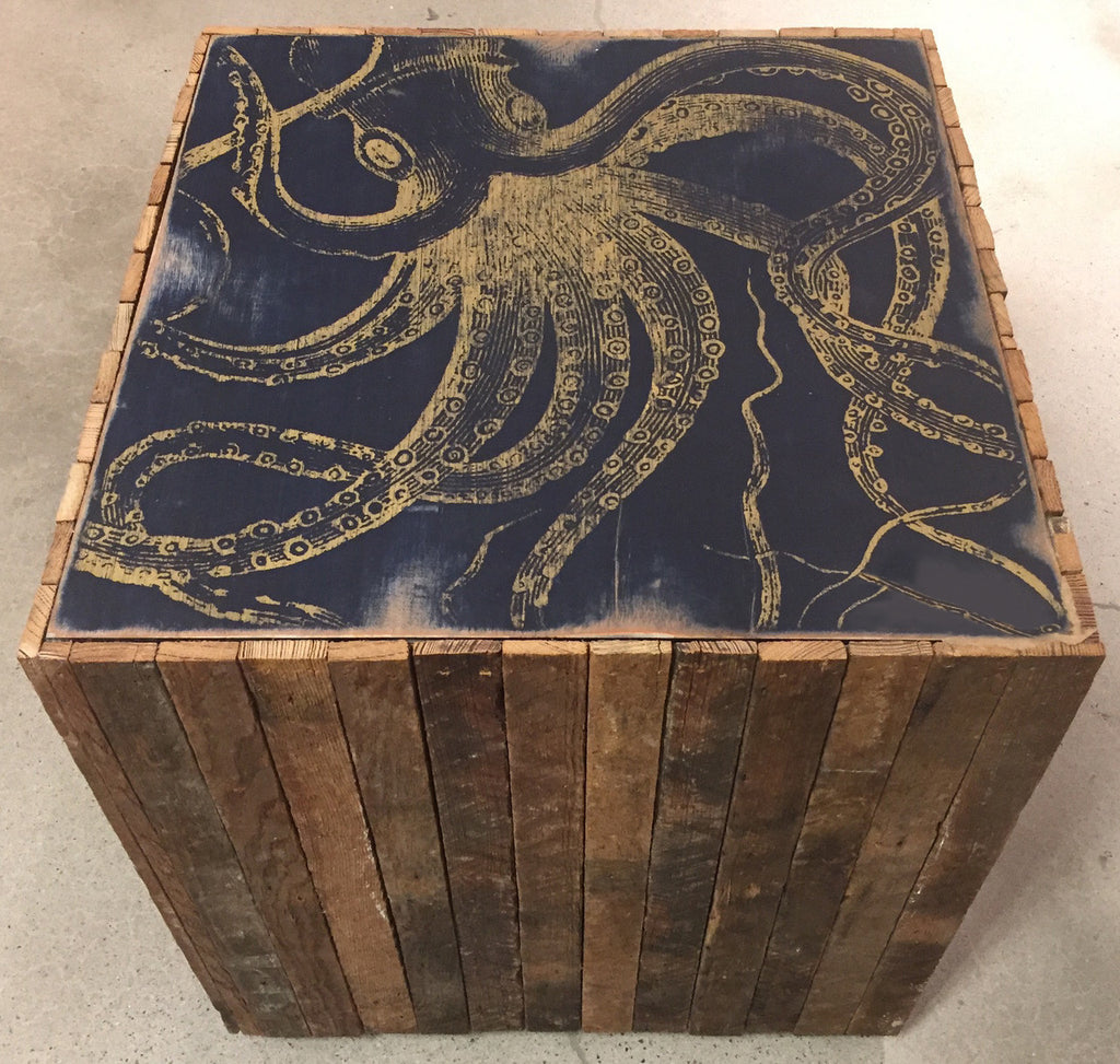 Kraken Rustic Wood Side Table - Haven America