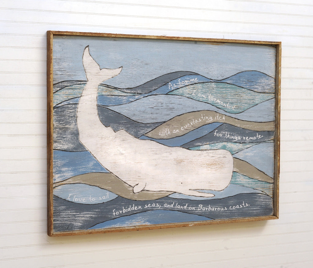 Melville Moby White Whale Framed Wall Decor - Haven America