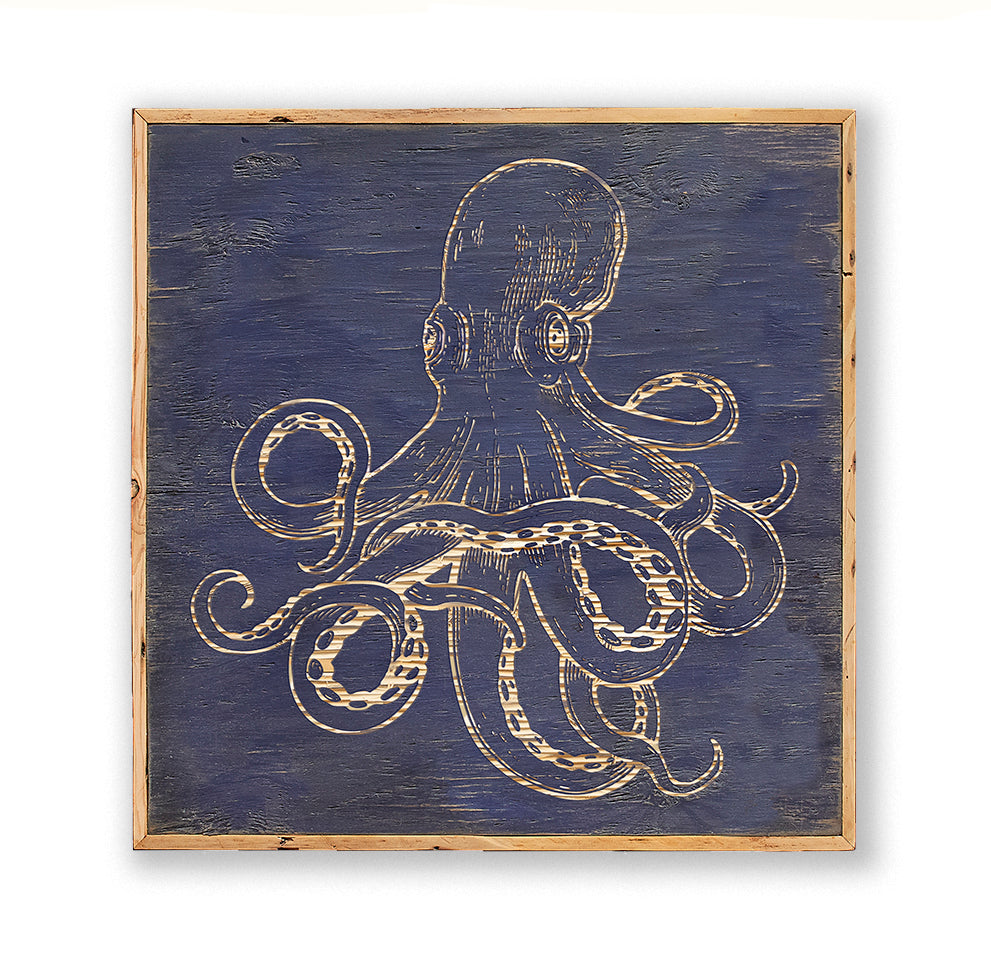 Carved Wooden Octopus Framed Wall Art - Haven America