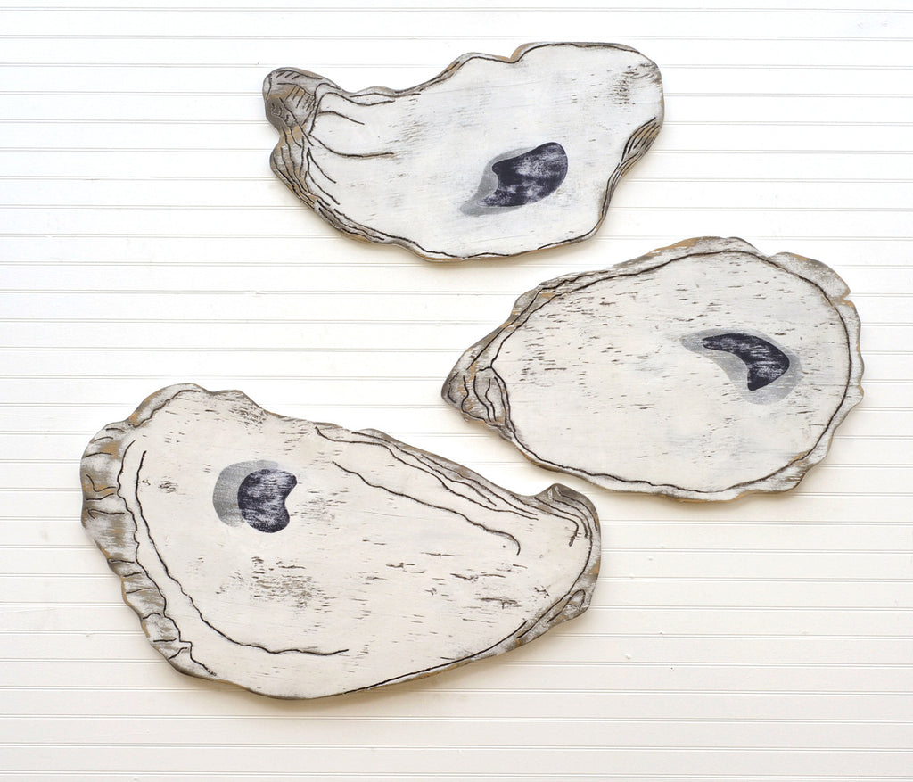 Oyster Shell Set (of 3) Wooden Wall Art - Haven America