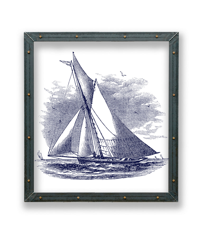 Sailboat Cutter Print in Metal Frame