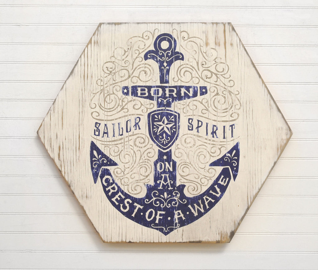 Sailor Spirit Sign Wooden Hexagon Anchor Sign - Haven America