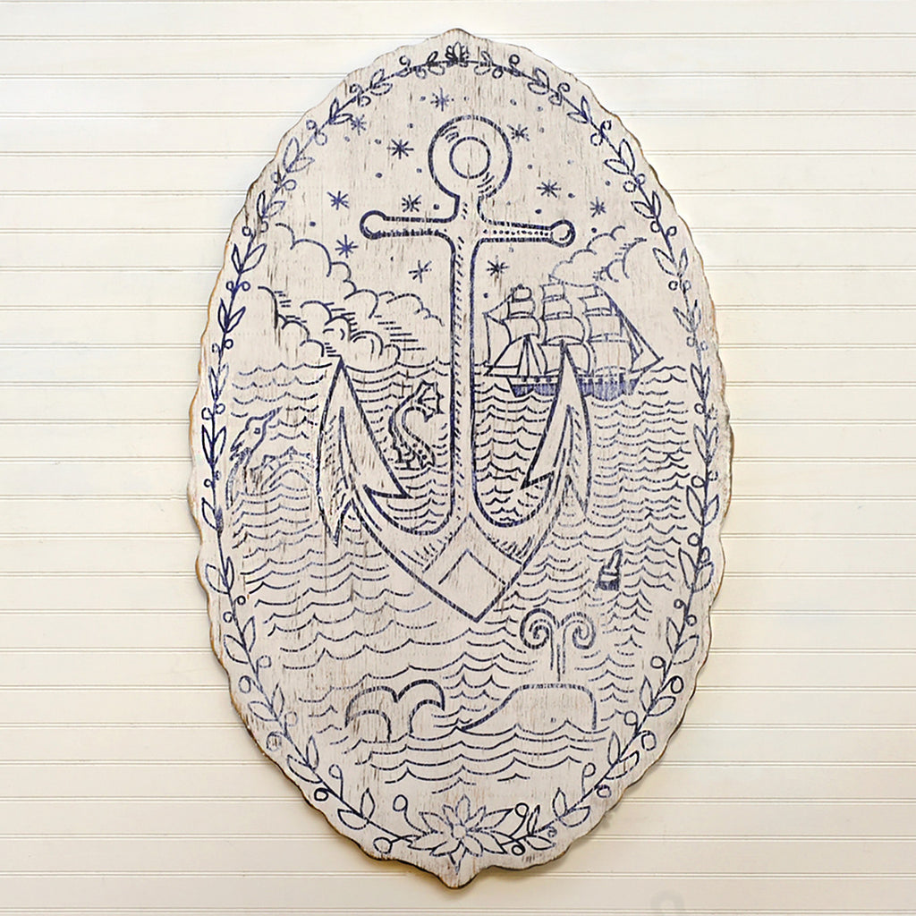 Sailors Love Token Screen Printed Wooden Wall Art - Haven America