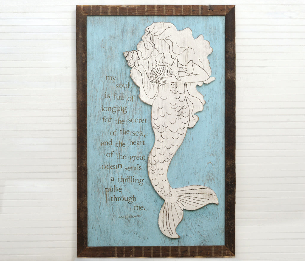 Seashell Mermaid Framed Coastal Wall Decor - Haven America