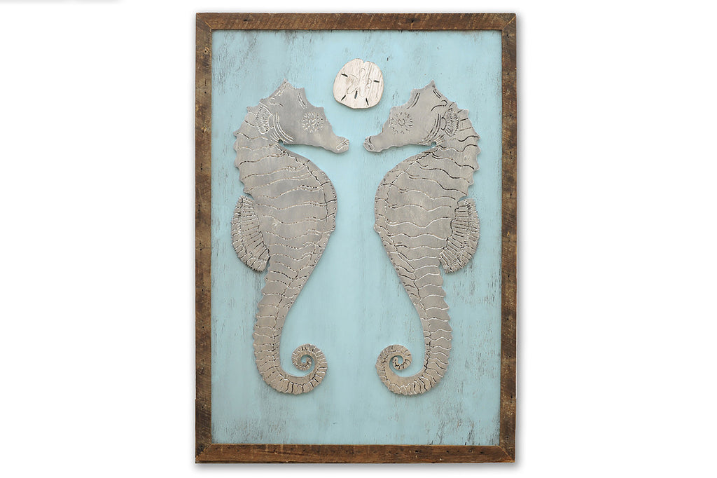 Seahorse Courtship with Sand Dollar Framed Wall Art - Haven America