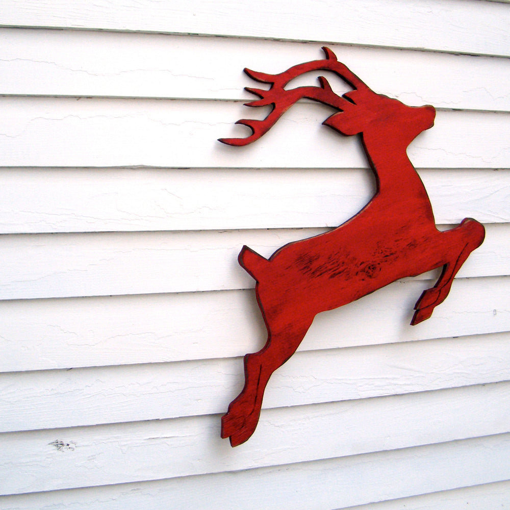 Flying Reindeer Red Wall Art - Haven America