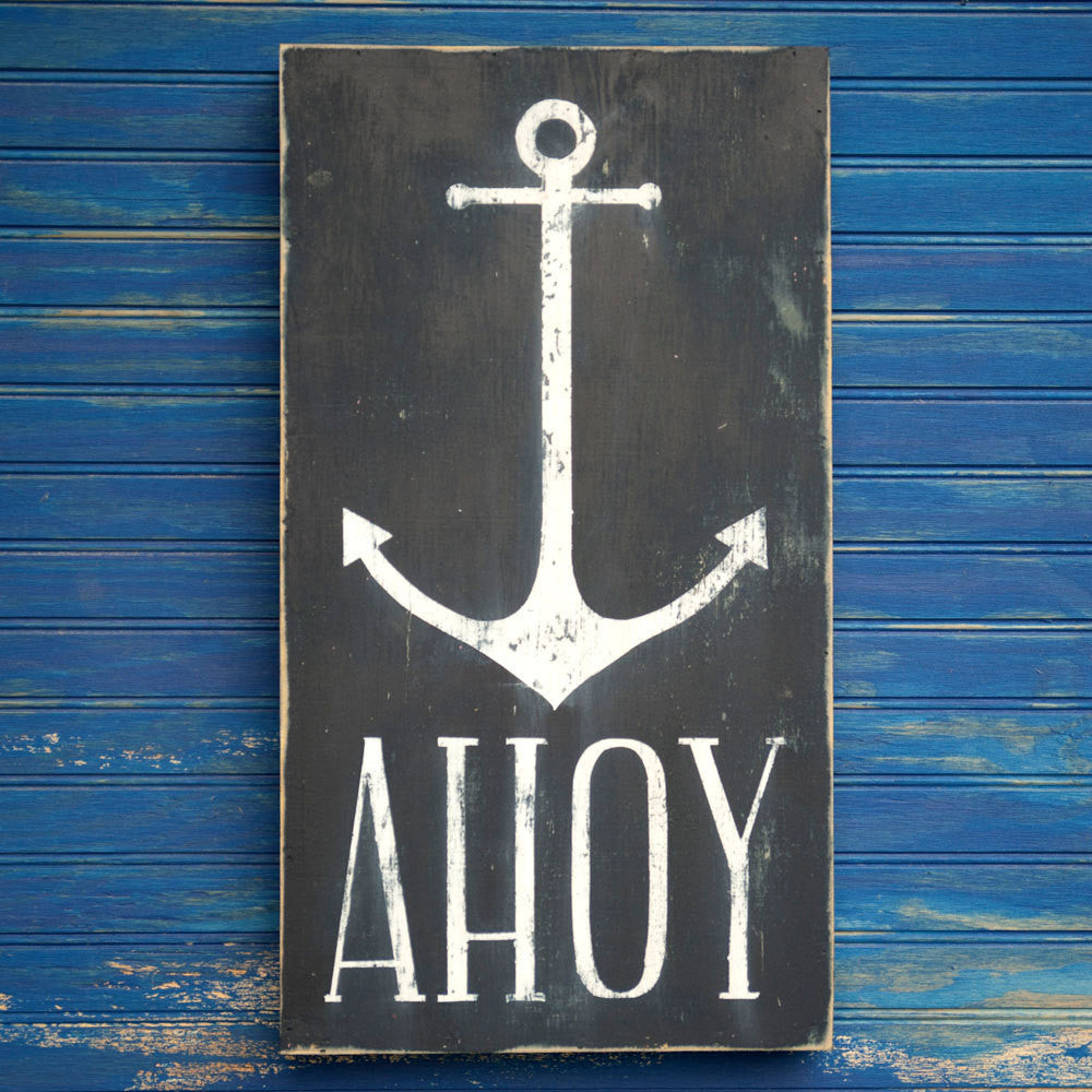 AHOY Anchor Wooden Box Sign - Haven America