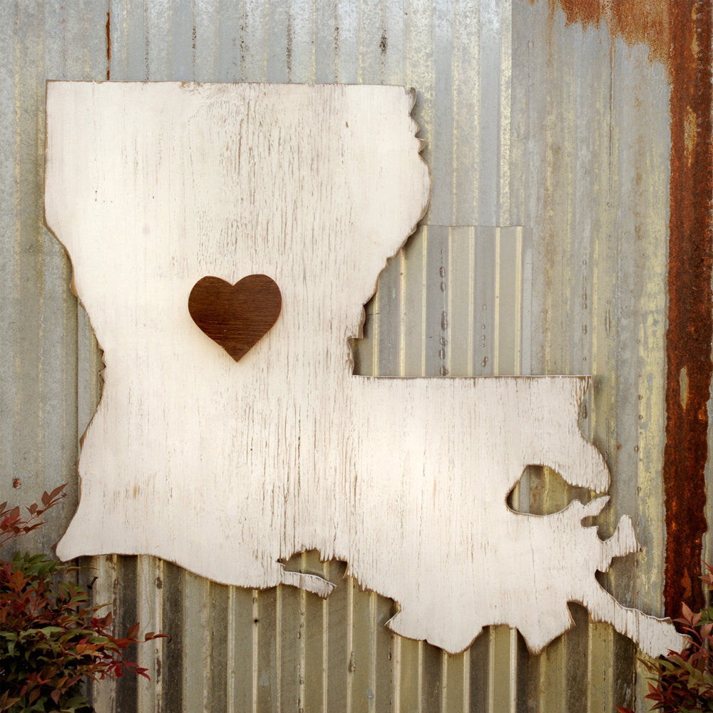 State Map Heart Lousiana - Haven America