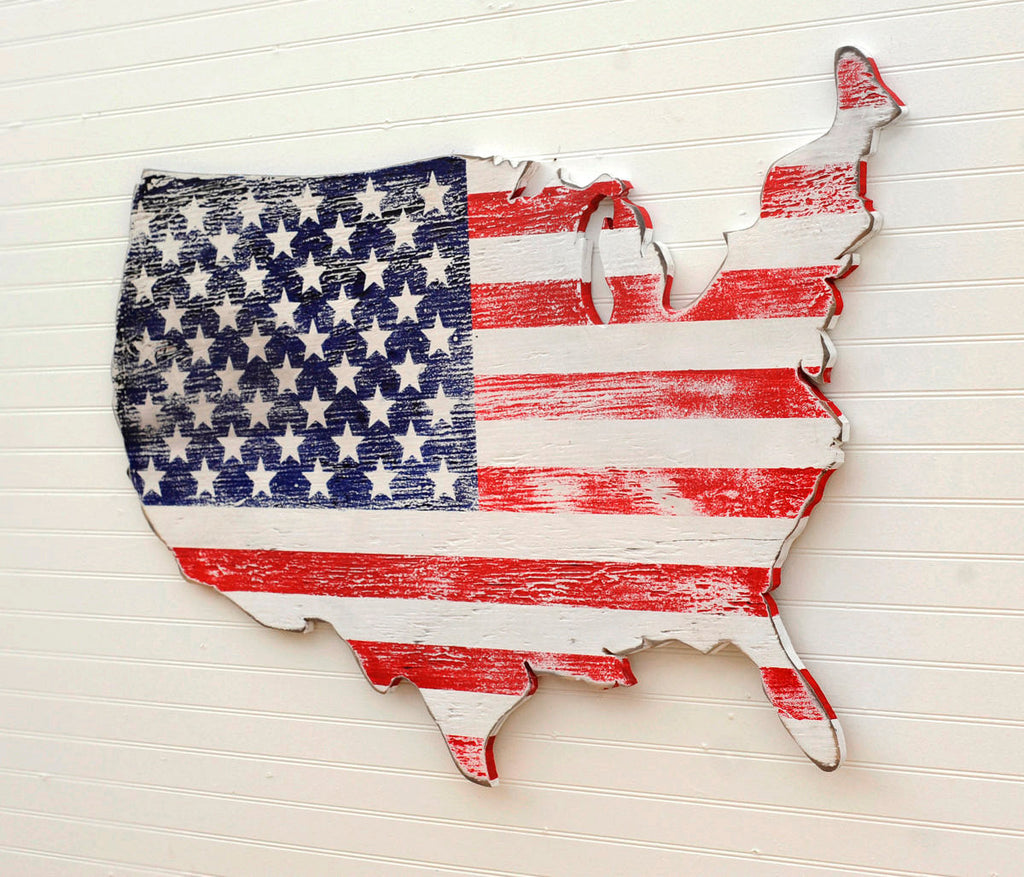 Stars and Stripe USA Wooden Flag Map - Haven America