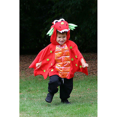 KIDS RED DRAGON CAPE COSTUME