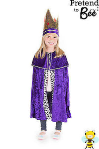 KIDS CHILDRENS CHILDS NATIVITY KING WISE MAN CLOAK CAPE COSTUME + CROWN AGE 7-11
