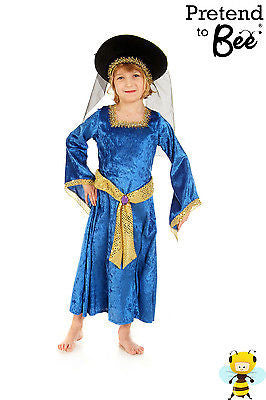 GIRLS KIDS CHILDS HISTORICAL TUDOR QUEEN RICH LADY COSTUME OUTFIT AGES 5,6,7,8,9