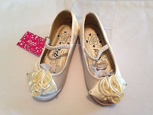 GIRLS KIDS IVORY SATIN BRIDESMAID FLOWER GIRL WEDDING PARTY SHOES PUMPS UK 4-12