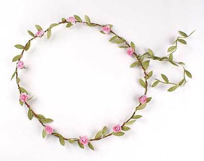 GIRLS ROSE FLORAL FLOWER GIRL WEDDING BRIDESMAID PARTY HEAD GARLAND HEADDRESS