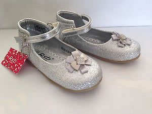 TODDLER YOUNG GIRLS KIDS CHILDRENS SPARKLY SILVER GLITTER PARTY SHOES UK 4 - 10