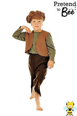 BOYS KIDS POOR VICTORIAN OLIVER TWIST WAISTCOAT & CAP OUTFIT COSTUME AGE  5-7-9