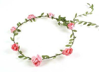 GIRLS FLORAL FLOWER GIRL BRIDESMAID PINK ROSE WEDDING HEAD GARLANDS HEADDRESSES