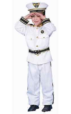 BOYS KIDS CHILDRENS DELUXE NAVY ADMIRAL SAILOR FANCY DRESS COSTUME UNIFORM & CAP