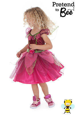GIRLS KIDS CHILDRENS DELUXE HOT PINK FAIRY PRINCESS FANCY DRESS COSTUME AGE 2-12