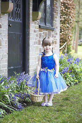 GIRLS BLUE FLOWER FAIRY PRINCESS COSTUME