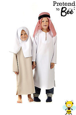 CHILDRENS KIDS GIRLS BOYS MIDDLE EASTERN ROBE TUNIC COSTUME & HEADDRESS AGE 3-7