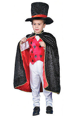 KIDS CHILDRENS BOYS GIRLS DELUXE MAGICIAN CAPE COSTUME OUTFIT WAND HAT AGE 4-14