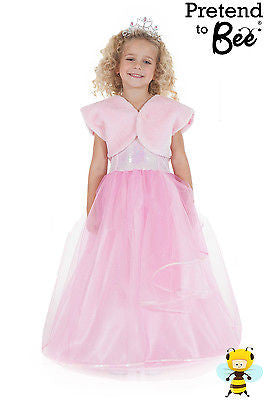 GIRLS KIDS DELUXE PINK PRINCESS CINDERELLA BALLGOWN DRESS UP COSTUME AGE 3-5-7-9