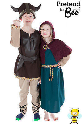 KIDS CHILDRENS GIRLS BOYS CHILDS VIKING FANCY DRESS COSTUME OUTFIT AGE 5-7-9-11