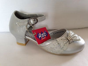 GIRLS KIDS CHILDRENS SPARKLY SILVER PRINCESS PARTY DRESSING UP SHOES UK 8 - 3