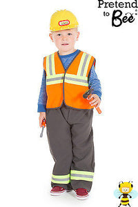 KIDS BOYS CHILDRENS BUILDER CONSTRUCTION WORKER COSTUME OUTFIT AND HAT AGE 3-5-7