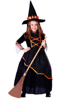 GIRLS KIDS CHILDRENS CHILDS DELUXE WITCH COSTUME OUTFIT & WITCHES HAT  AGE 3-14
