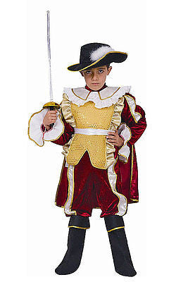 KIDS CHILDRENS CHILDS BOYS DELUXE RED MUSKETEER NOBLE KNIGHT COSTUME AGE 3-14