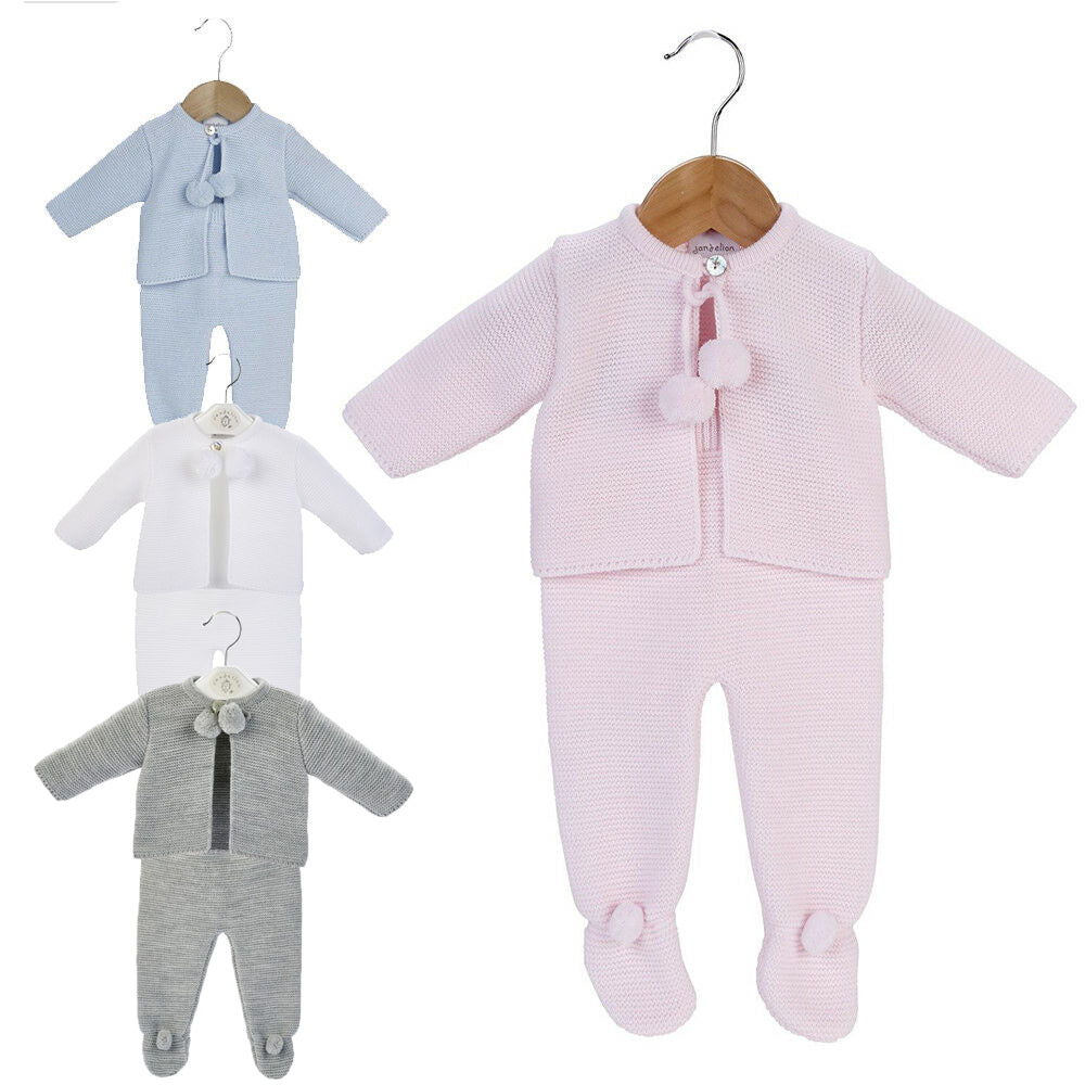 NEWBORN BABY KNITTED POM POM JACKET & LEGGINGS SET