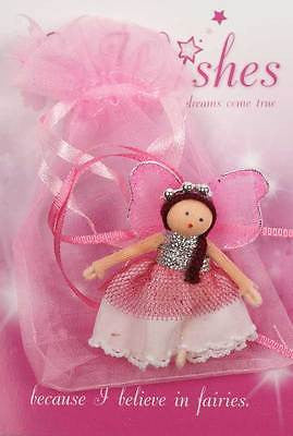 MINIATURE PINK FAIRY WISHING WORRY DOLL IN  BAG, FAB GIRLS TOOTH FAIRY GIFT