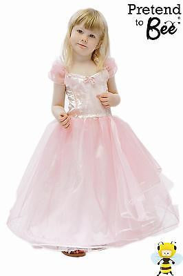 GIRLS CHILDRENS DELUXE LONG PINK PRINCESS BALLGOWN BRIDESMAID DRESS  AGE 3-5-7-9